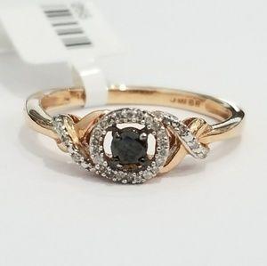 Jewelry - Rose Gold White and Black Diamond Ladies Ring